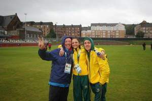 PB Head Coach Michael Dooley with PB Athletes Ella Nelson and Jake Hammond at the 2014 Commonwealth Games. Glasgow, Scotland.