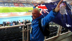 Proudly waving the Australian flag at the 2014 Commonwealth Games. Glasgow, Scotland.